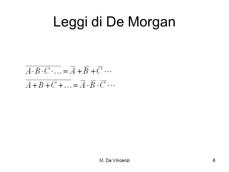 M.De Vincenzi7 Porte Logiche OR e AND NOT Tavola della verità.