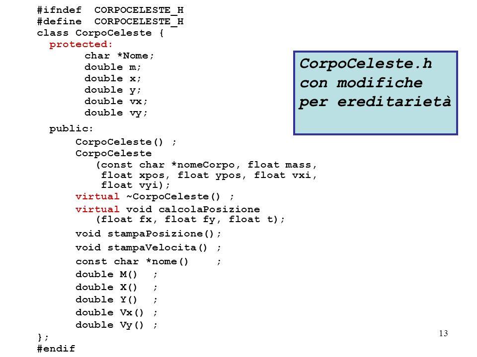 13 #ifndef CORPOCELESTE_H #define CORPOCELESTE_H class CorpoCeleste { protected: char *Nome; double m; double x; double y; double vx; double vy; public: CorpoCeleste() ; CorpoCeleste (const char *nomeCorpo, float mass, float xpos, float ypos, float vxi, float vyi); virtual ~CorpoCeleste() ; virtual void calcolaPosizione (float fx, float fy, float t); void stampaPosizione(); void stampaVelocita() ; const char *nome() ; double M() ; double X() ; double Y() ; double Vx() ; double Vy() ; }; #endif CorpoCeleste.h con modifiche per ereditarietà