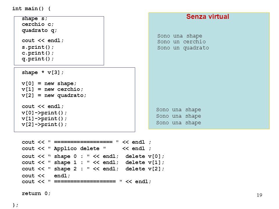 19 int main() { shape s; cerchio c; quadrato q; cout << endl; s.print(); c.print(); q.print(); shape * v[3]; v[0] = new shape; v[1] = new cerchio; v[2] = new quadrato; cout << endl; v[0]->print(); v[1]->print(); v[2]->print(); cout << ================== << endl ; cout << Applico delete << endl ; cout << shape 0 : << endl; delete v[0]; cout << shape 1 : << endl; delete v[1]; cout << shape 2 : << endl; delete v[2]; cout << endl; cout << =================== << endl; return 0; }; Sono una shape Sono un cerchio Sono un quadrato Senza virtual