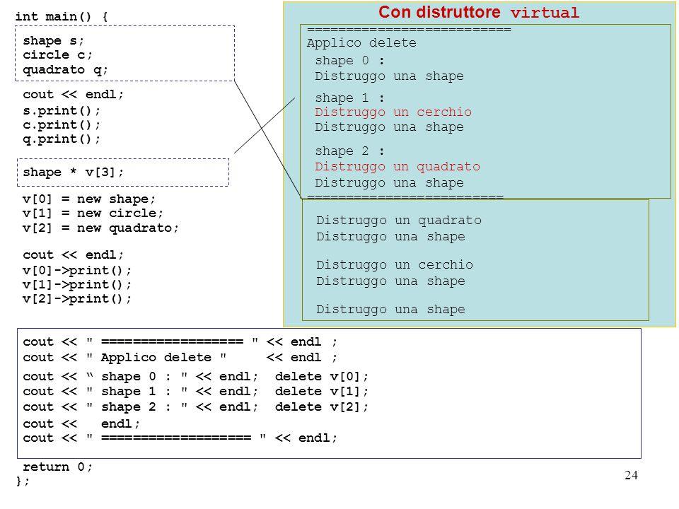 24 Con distruttore virtual int main() { shape s; circle c; quadrato q; cout << endl; s.print(); c.print(); q.print(); shape * v[3]; v[0] = new shape; v[1] = new circle; v[2] = new quadrato; cout << endl; v[0]->print(); v[1]->print(); v[2]->print(); cout << ================== << endl ; cout << Applico delete << endl ; cout << shape 0 : << endl; delete v[0]; cout << shape 1 : << endl; delete v[1]; cout << shape 2 : << endl; delete v[2]; cout << endl; cout << =================== << endl; return 0; }; Distruggo un quadrato Distruggo una shape Distruggo un cerchio Distruggo una shape ========================== Applico delete shape 0 : Distruggo una shape shape 1 : Distruggo un cerchio Distruggo una shape shape 2 : Distruggo un quadrato Distruggo una shape =========================