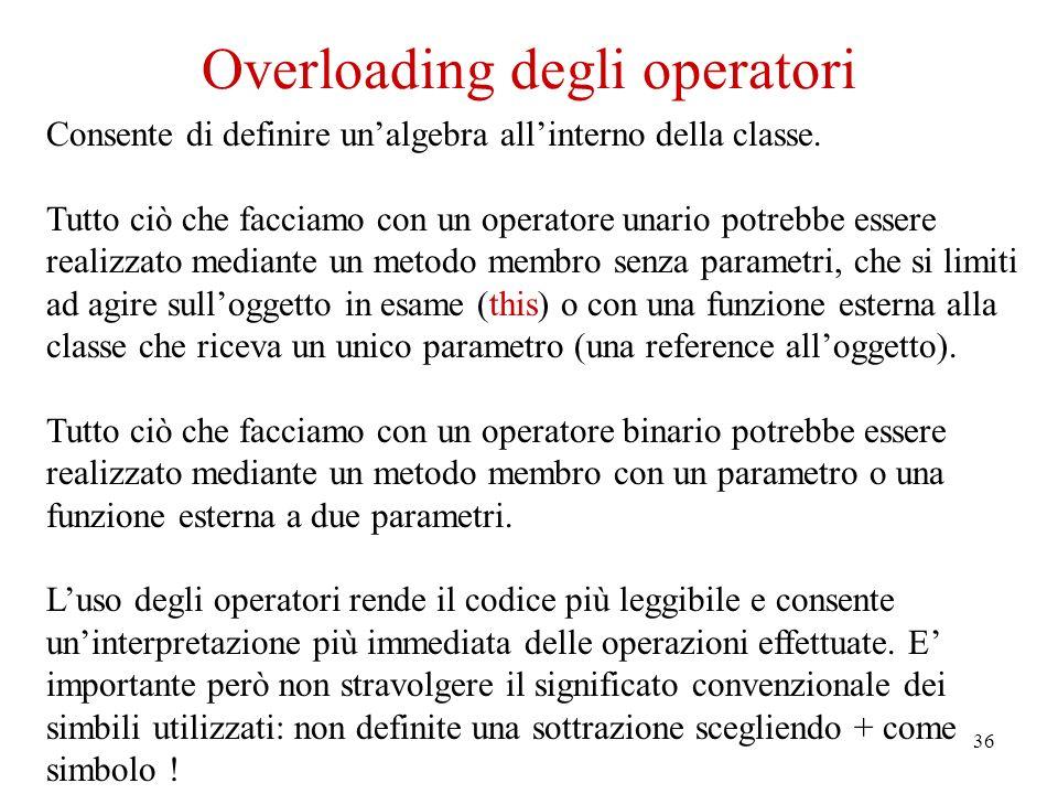 36 Overloading degli operatori Consente di definire unalgebra allinterno della classe.