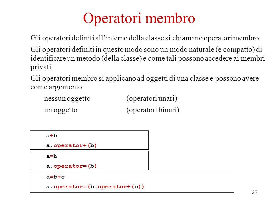37 Gli operatori definiti allinterno della classe si chiamano operatori membro.