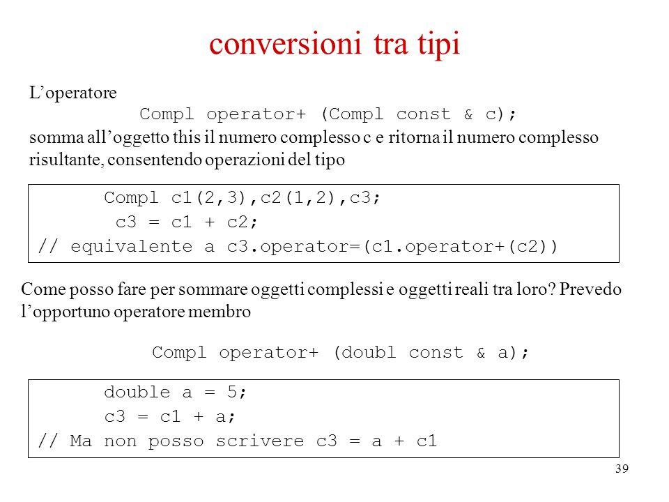 39 Compl c1(2,3),c2(1,2),c3; c3 = c1 + c2; // equivalente a c3.operator=(c1.operator+(c2)) double a = 5; c3 = c1 + a; // Ma non posso scrivere c3 = a + c1 conversioni tra tipi Loperatore Compl operator+ (Compl const & c); somma alloggetto this il numero complesso c e ritorna il numero complesso risultante, consentendo operazioni del tipo Come posso fare per sommare oggetti complessi e oggetti reali tra loro.