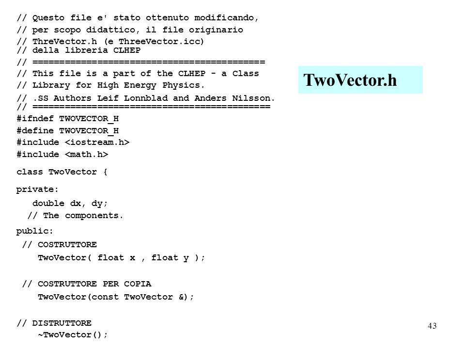 43 // Questo file e stato ottenuto modificando, // per scopo didattico, il file originario // ThreVector.h (e ThreeVector.icc) // della libreria CLHEP // =========================================== // This file is a part of the CLHEP - a Class // Library for High Energy Physics.