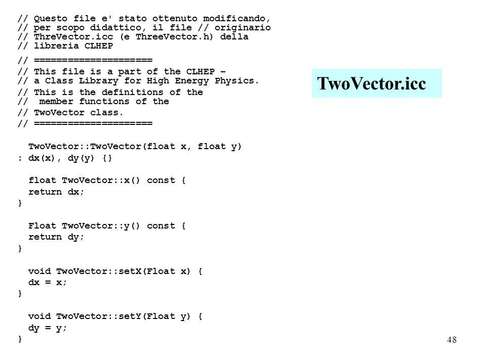 48 // Questo file e stato ottenuto modificando, // per scopo didattico, il file // originario // ThreVector.icc (e ThreeVector.h) della // libreria CLHEP // ===================== // This file is a part of the CLHEP – // a Class Library for High Energy Physics.