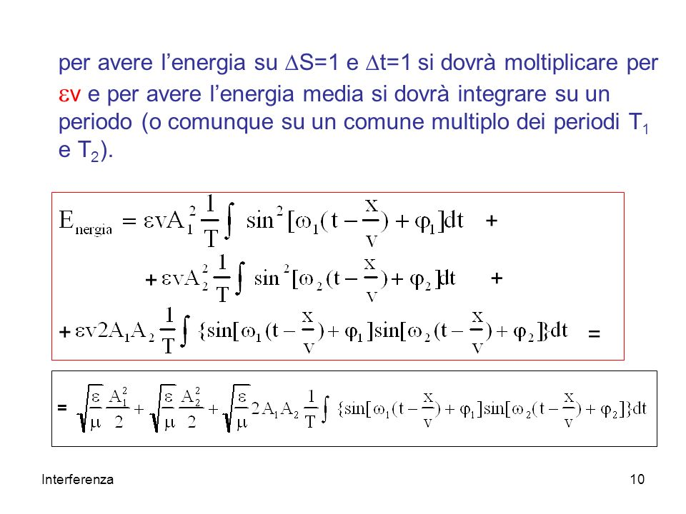 Interferenza10 per avere lenergia su S=1 e t=1 si dovrà moltiplicare per v e per avere lenergia media si dovrà integrare su un periodo (o comunque su