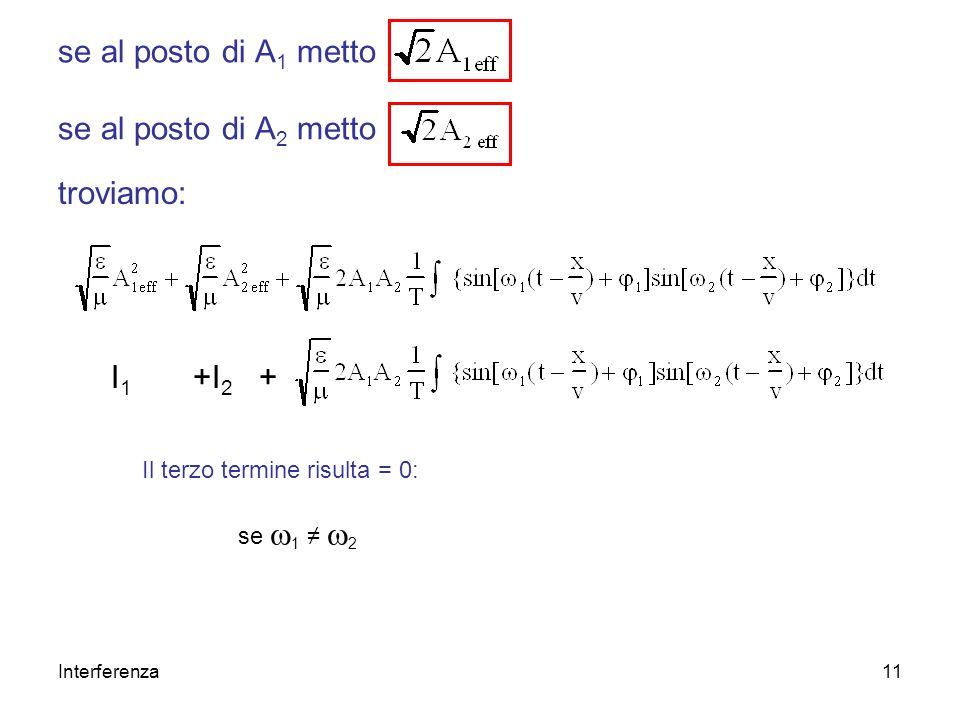 Interferenza11 se al posto di A 1 metto se al posto di A 2 metto troviamo: I 1 +I 2 + Il terzo termine risulta = 0: se 1 2