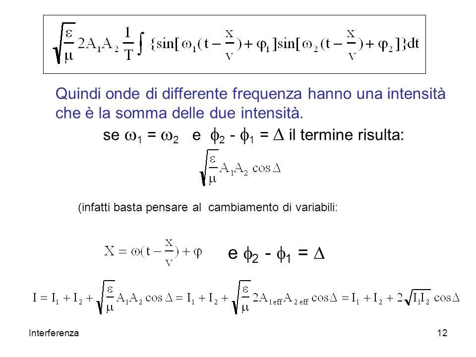 Interferenza12 Quindi onde di differente frequenza hanno una intensità che è la somma delle due intensità. se 1 = 2 e 2 - 1 = il termine risulta: (inf