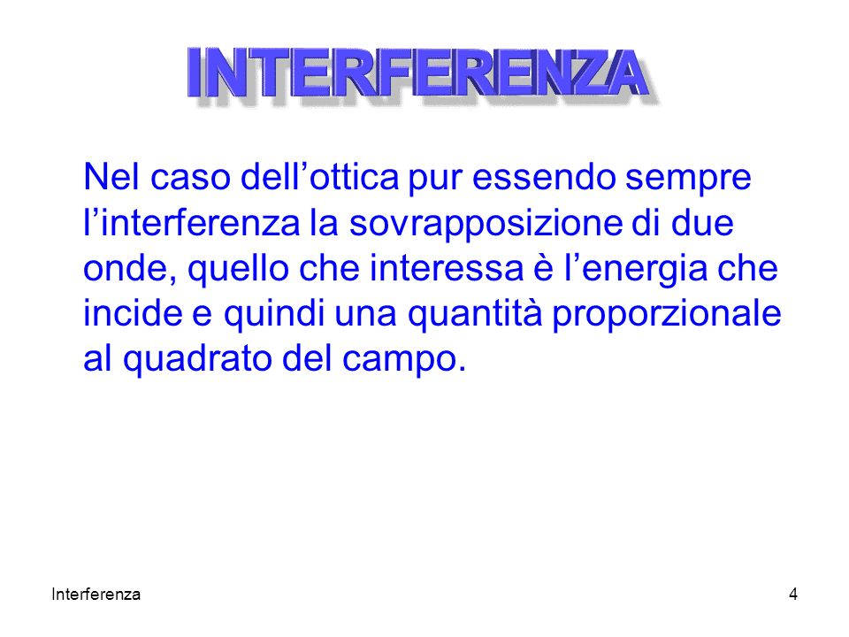 Interferenza4 Nel caso dellottica pur essendo sempre linterferenza la sovrapposizione di due onde, quello che interessa è lenergia che incide e quindi