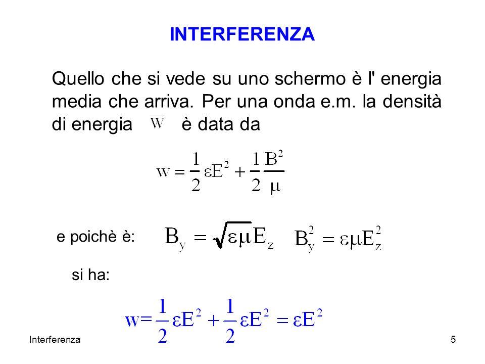 Interferenza5 INTERFERENZA Quello che si vede su uno schermo è l' energia media che arriva. Per una onda e.m. la densità di energia è data da e poichè