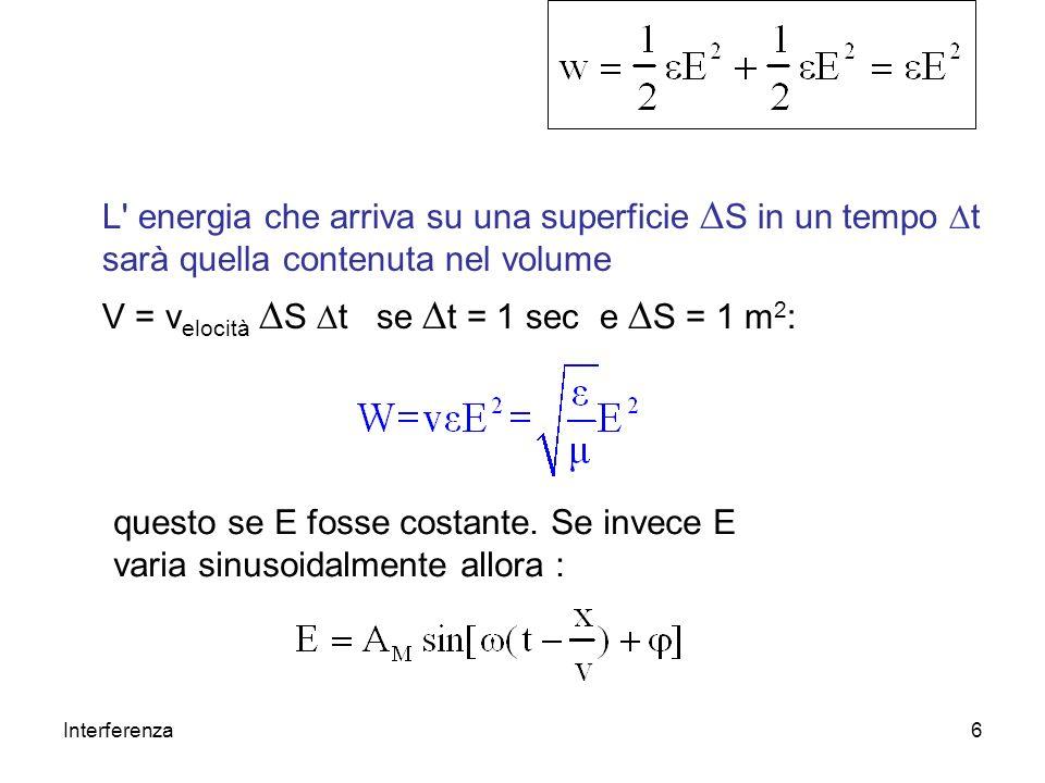 Interferenza6 L' energia che arriva su una superficie S in un tempo t sarà quella contenuta nel volume V = v elocità S t se t = 1 sec e S = 1 m 2 : qu