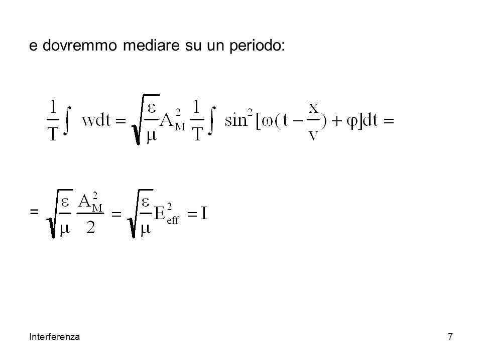 Interferenza18 Sono sorgenti coerenti quelle che mantengono costante la loro differenza di fase.