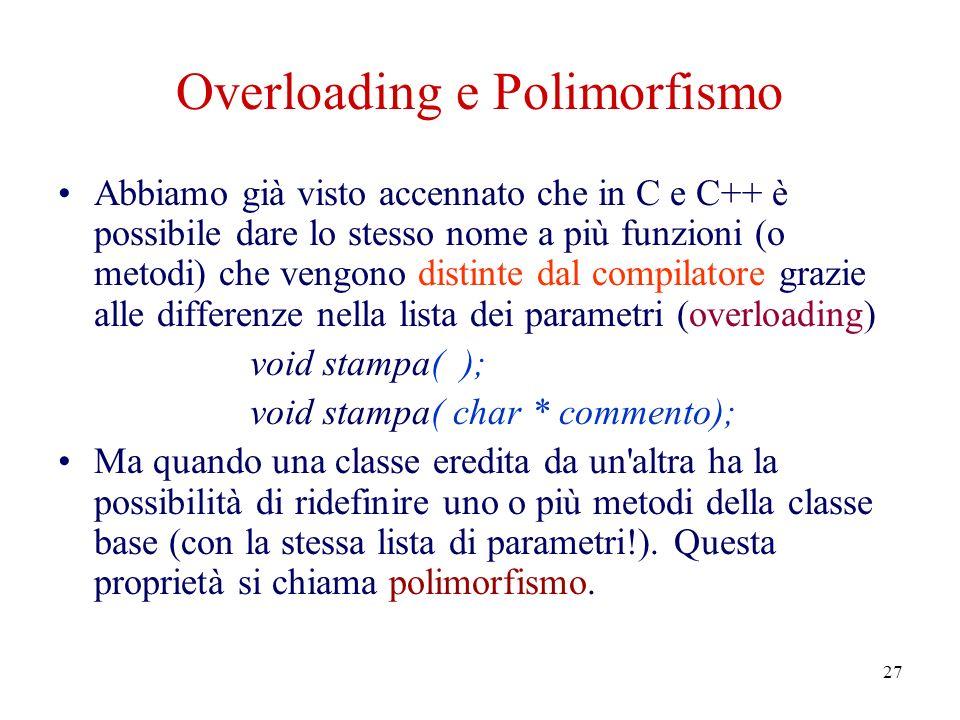 27 Overloading e Polimorfismo Abbiamo già visto accennato che in C e C++ è possibile dare lo stesso nome a più funzioni (o metodi) che vengono distinte dal compilatore grazie alle differenze nella lista dei parametri (overloading) void stampa( ); void stampa( char * commento); Ma quando una classe eredita da un altra ha la possibilità di ridefinire uno o più metodi della classe base (con la stessa lista di parametri!).