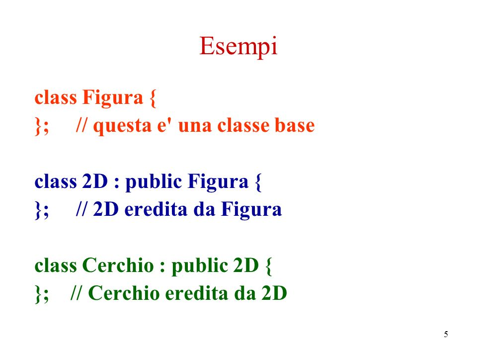 5 Esempi class Figura { }; // questa e una classe base class 2D : public Figura { }; // 2D eredita da Figura class Cerchio : public 2D { }; // Cerchio eredita da 2D