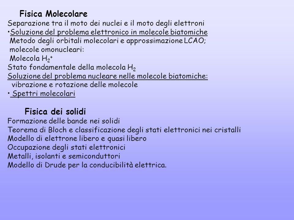 Fisica Molecolare Separazione tra il moto dei nuclei e il moto degli elettroni Soluzione del problema elettronico in molecole biatomiche Metodo degli
