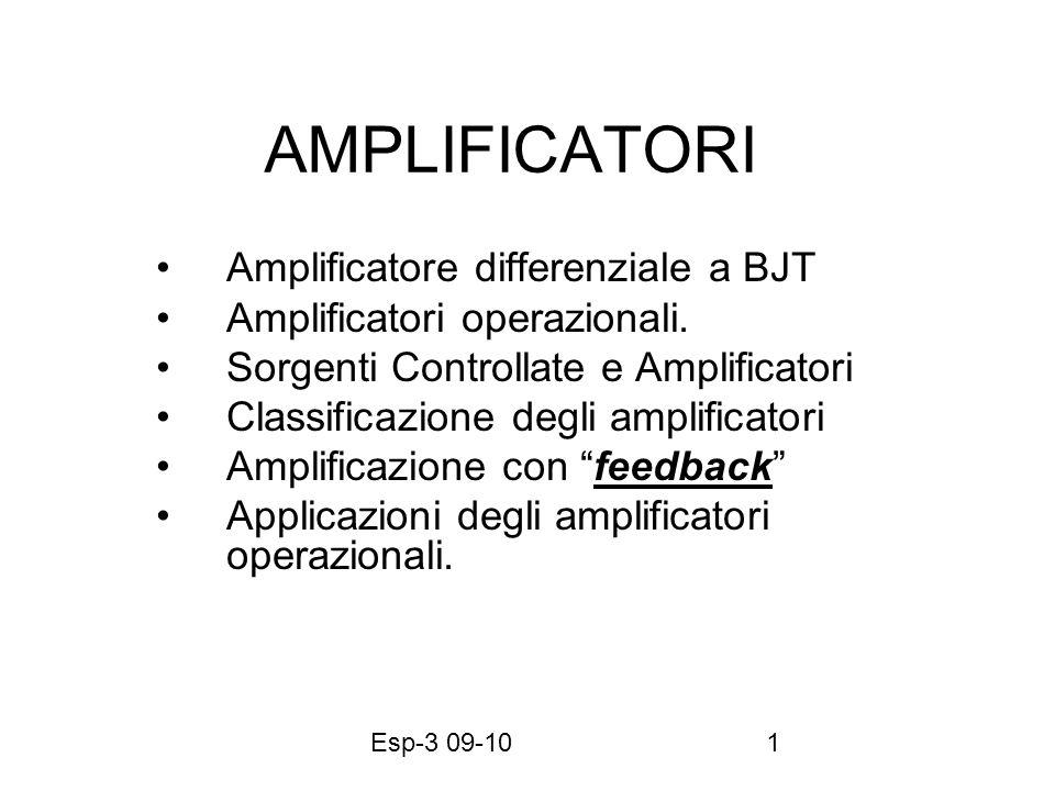Esp-3 09-1012 AMPLIFICATORI REAZIONATI (Millman-Grabel sez.3-1,12-1-2-3-4-5) Corrispondenza tra amplificatori e generatori controllati Classificazione degli amplificatori e condizioni di idealità in relazione alle impedenze.