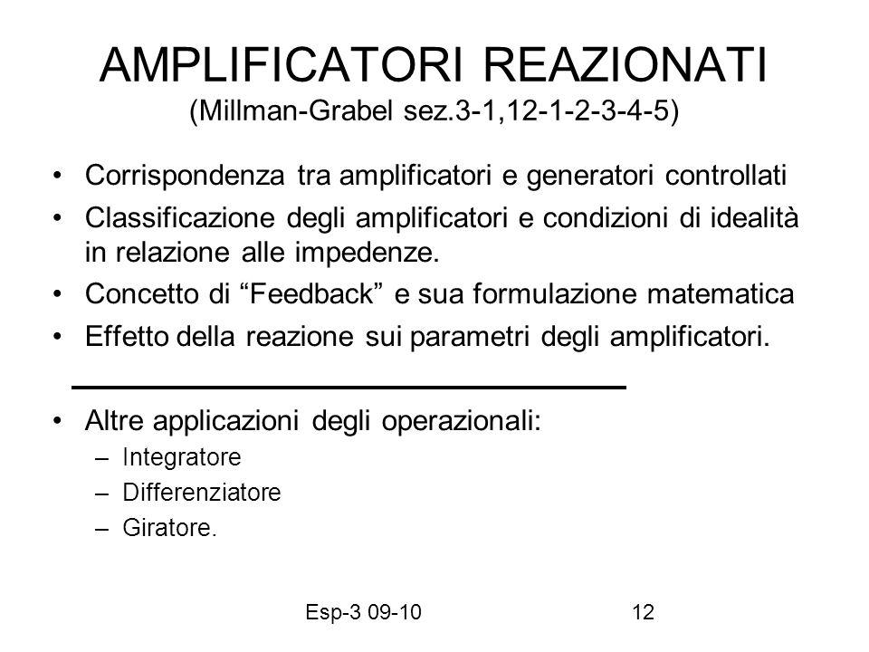 Esp-3 09-1012 AMPLIFICATORI REAZIONATI (Millman-Grabel sez.3-1,12-1-2-3-4-5) Corrispondenza tra amplificatori e generatori controllati Classificazione