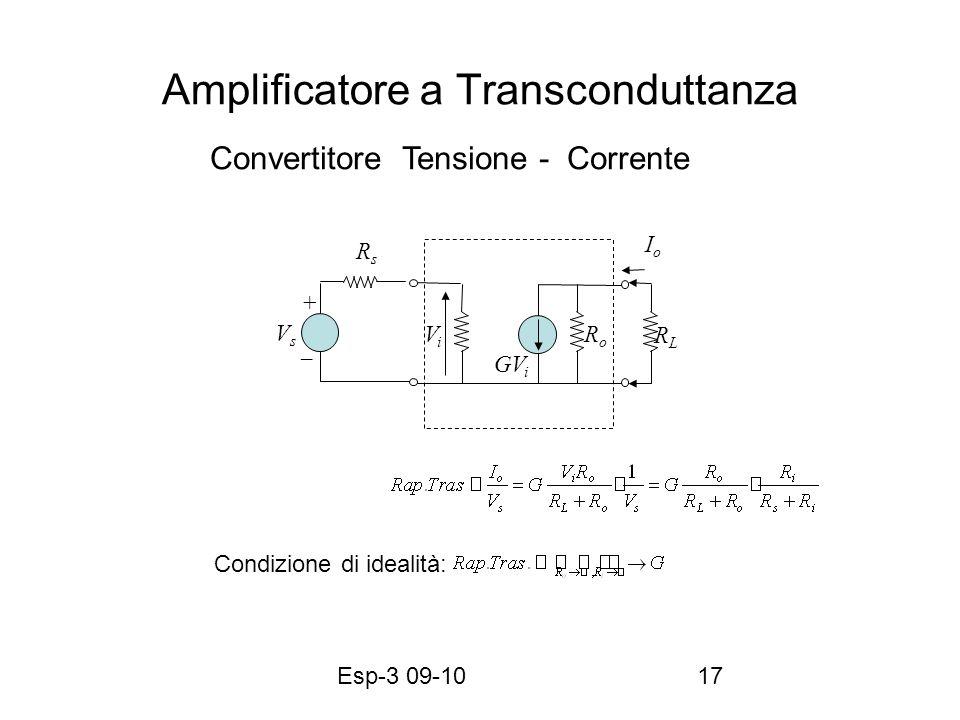 Esp-3 09-1017 Amplificatore a Transconduttanza RLRL RoRo GV i IoIo RsRs VsVs ViVi + Condizione di idealità: Convertitore Tensione - Corrente