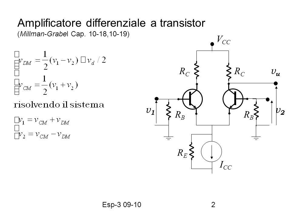 Esp-3 09-102 Amplificatore differenziale a transistor (Millman-Grabel Cap. 10-18,10-19) RCRC RCRC V CC I CC RBRB RBRB vuvu v2v2 v1v1 RERE