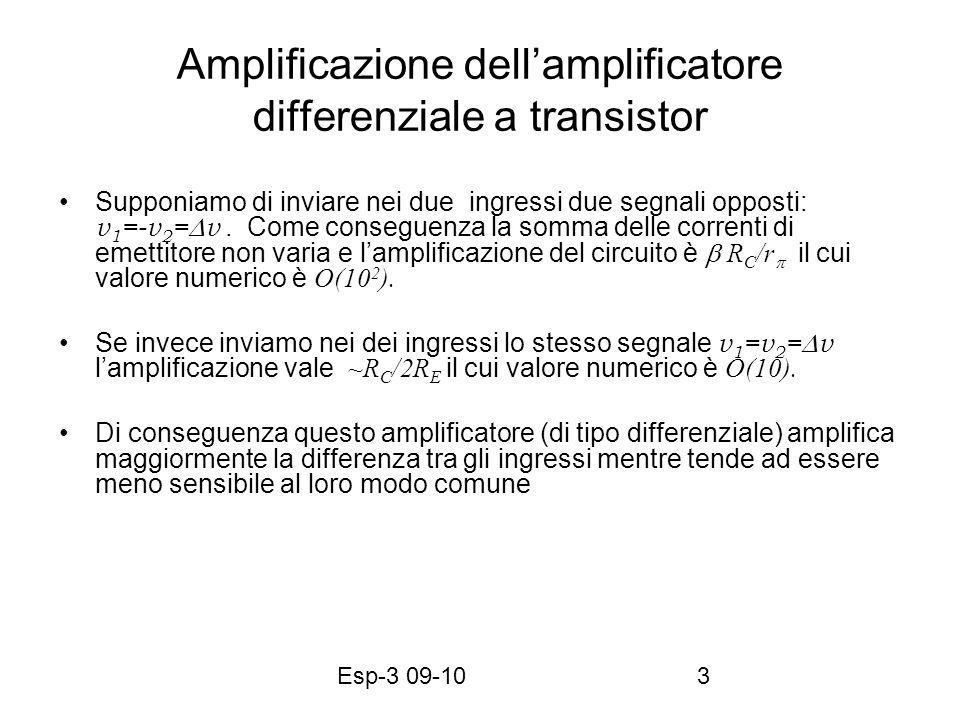 Esp-3 09-103 Amplificazione dellamplificatore differenziale a transistor Supponiamo di inviare nei due ingressi due segnali opposti: v 1 =-v 2 = v. Co