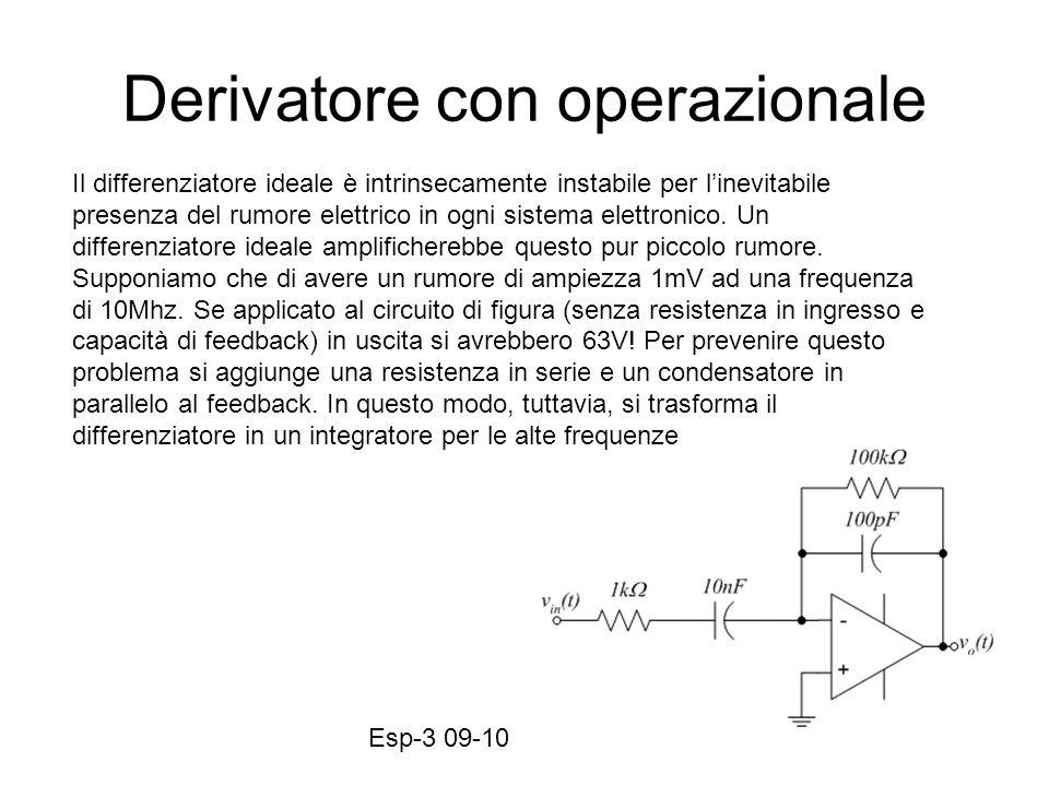 Esp-3 09-1031 Derivatore con operazionale Il differenziatore ideale è intrinsecamente instabile per linevitabile presenza del rumore elettrico in ogni