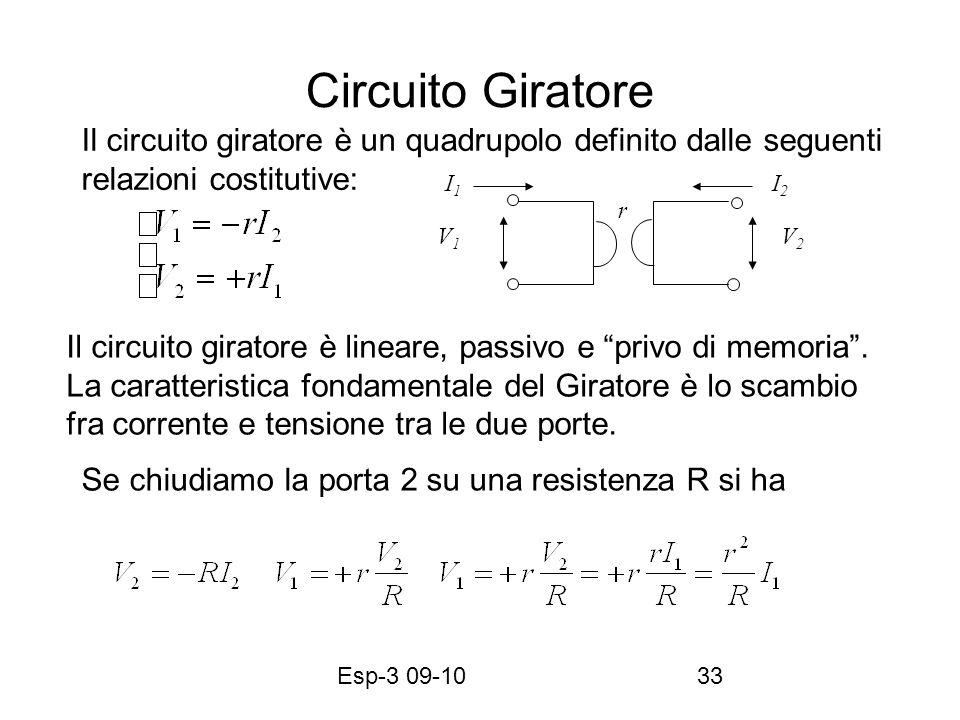 Esp-3 09-1033 Circuito Giratore Il circuito giratore è un quadrupolo definito dalle seguenti relazioni costitutive: V1V1 V2V2 I1I1 I2I2 Il circuito gi