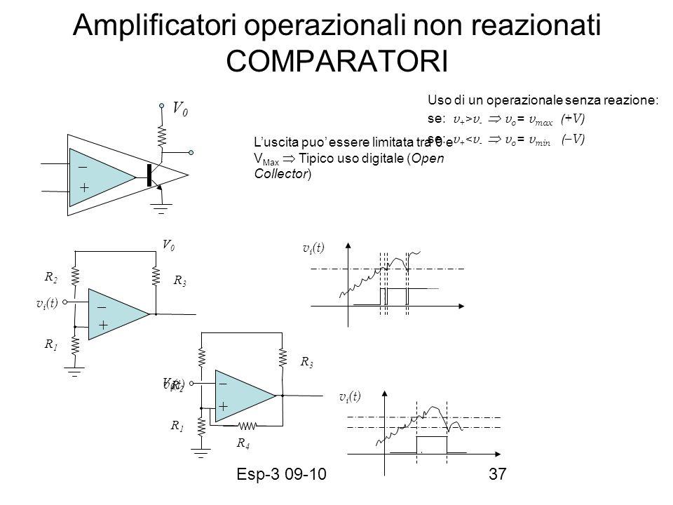 Esp-3 09-1037 Amplificatori operazionali non reazionati COMPARATORI v i (t) Uso di un operazionale senza reazione: se: v + >v - v o = v max (+V) se: v