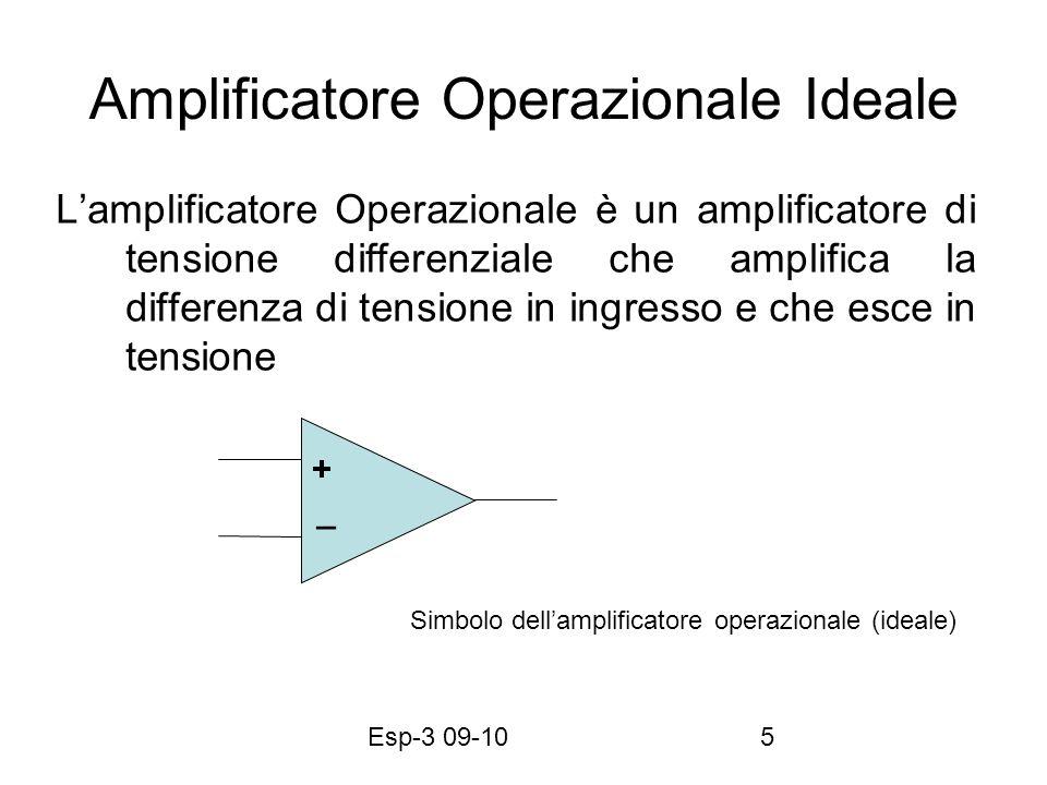Esp-3 09-1036 Amplificatori operazionali non reazionati v i (t) V0V0 V1V1 I1I1 Uso di un operazionale senza reazione: se: v + >v - v o = v max (+V) se: v + <v - v o = v min (–V) – + Luscita puo essere limitata tra 0 e V Max Tipico uso digitale – +