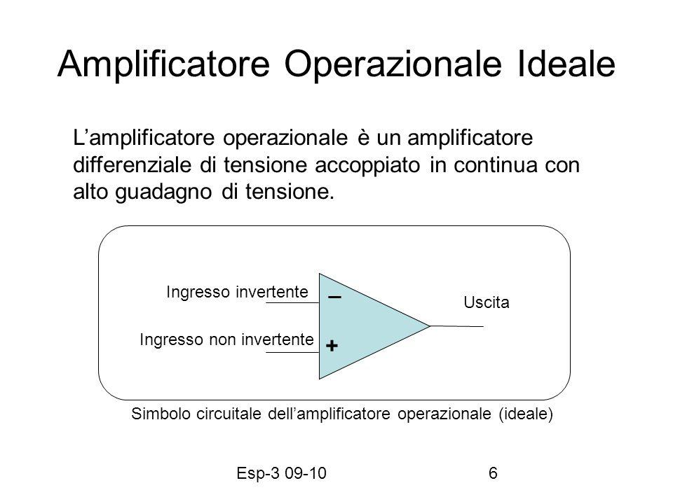 Esp-3 09-107 Caratteristiche dellAmplificatore Operazionale Ideale 1.Resistenza dingresso infinita 2.Resistenza duscita zero 3.Amplificazione infinita (Implica la massa virtuale) 4.Risposta uniforme a tutte le frequenze (0- ) 5.Se v + =v - allora v u =0.