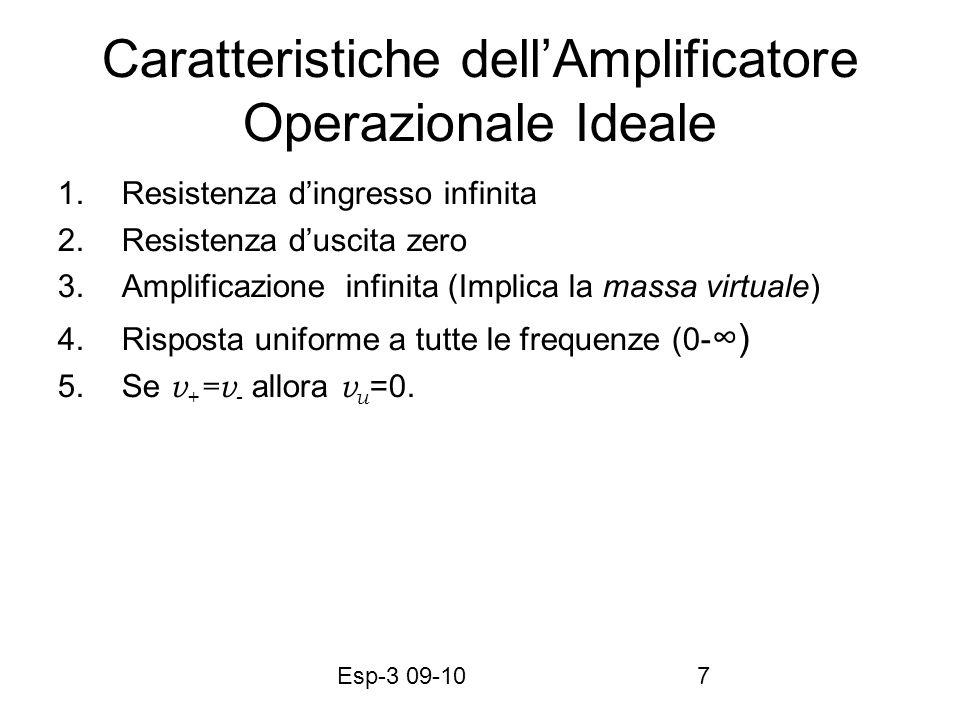 Esp-3 09-107 Caratteristiche dellAmplificatore Operazionale Ideale 1.Resistenza dingresso infinita 2.Resistenza duscita zero 3.Amplificazione infinita