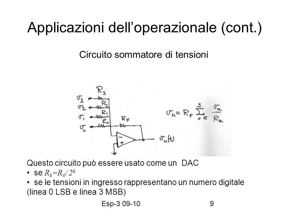 Esp-3 09-109 Applicazioni delloperazionale (cont.) Circuito sommatore di tensioni Questo circuito può essere usato come un DAC se R k =R 0 / 2 k se le