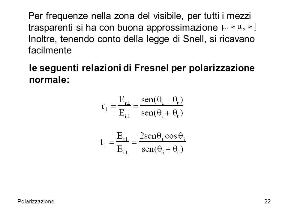 Polarizzazione23 Nel caso 2), procedendo in maniera analoga al caso 1), si ottiene
