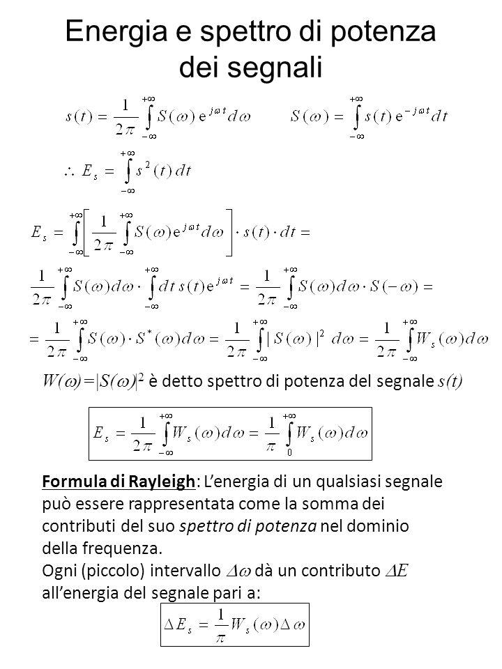 Energia e spettro di potenza dei segnali Formula di Rayleigh: Lenergia di un qualsiasi segnale può essere rappresentata come la somma dei contributi del suo spettro di potenza nel dominio della frequenza.