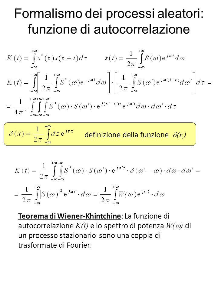 Formalismo dei processi aleatori: funzione di autocorrelazione Teorema di Wiener-Khintchine: La funzione di autocorrelazione K(t) e lo spettro di potenza W( ) di un processo stazionario sono una coppia di trasformate di Fourier.