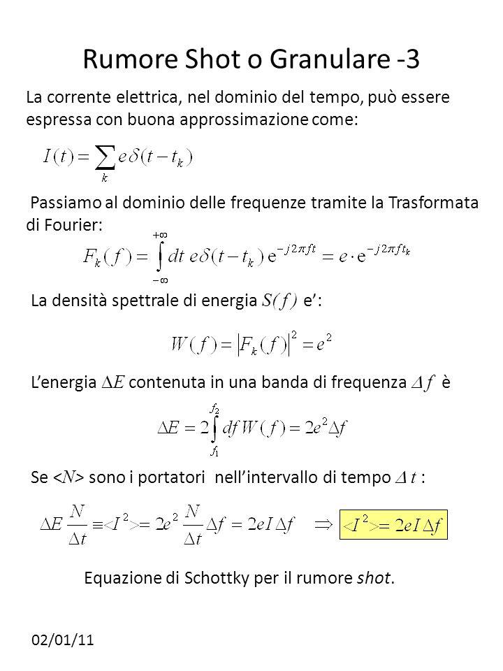 Rumore Shot o Granulare -3 02/01/11 La corrente elettrica, nel dominio del tempo, può essere espressa con buona approssimazione come: La densità spettrale di energia S( f ) e: Passiamo al dominio delle frequenze tramite la Trasformata di Fourier: Lenergia E contenuta in una banda di frequenza f è Se sono i portatori nellintervallo di tempo t : Equazione di Schottky per il rumore shot.
