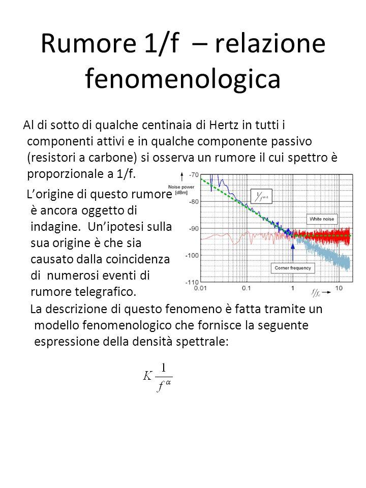 Rumore 1/f – relazione fenomenologica Al di sotto di qualche centinaia di Hertz in tutti i componenti attivi e in qualche componente passivo (resistori a carbone) si osserva un rumore il cui spettro è proporzionale a 1/f.