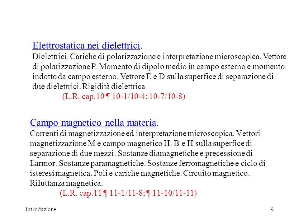 Introduzione10 Equazioni di Maxwell ed onde elettromagnetiche.