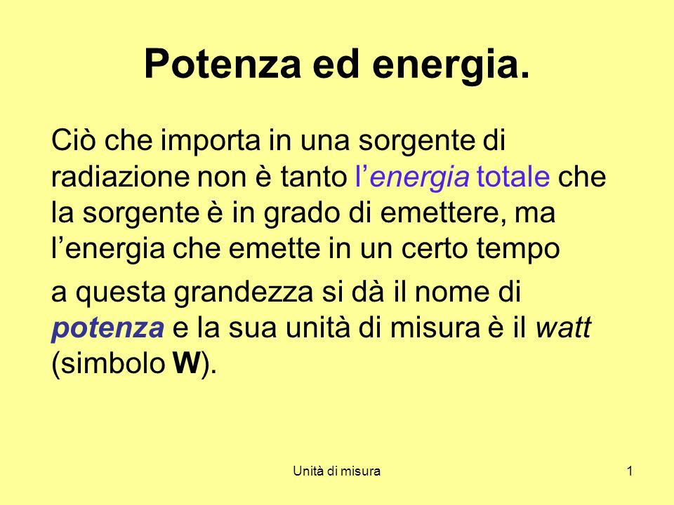 Unità di misura1 Potenza ed energia. Ciò che importa in una sorgente di radiazione non è tanto lenergia totale che la sorgente è in grado di emettere,