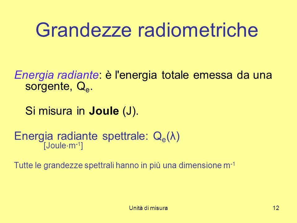 Unità di misura12 Energia radiante: è l'energia totale emessa da una sorgente, Q e. Si misura in Joule (J). Energia radiante spettrale: Q e (λ) [Joule