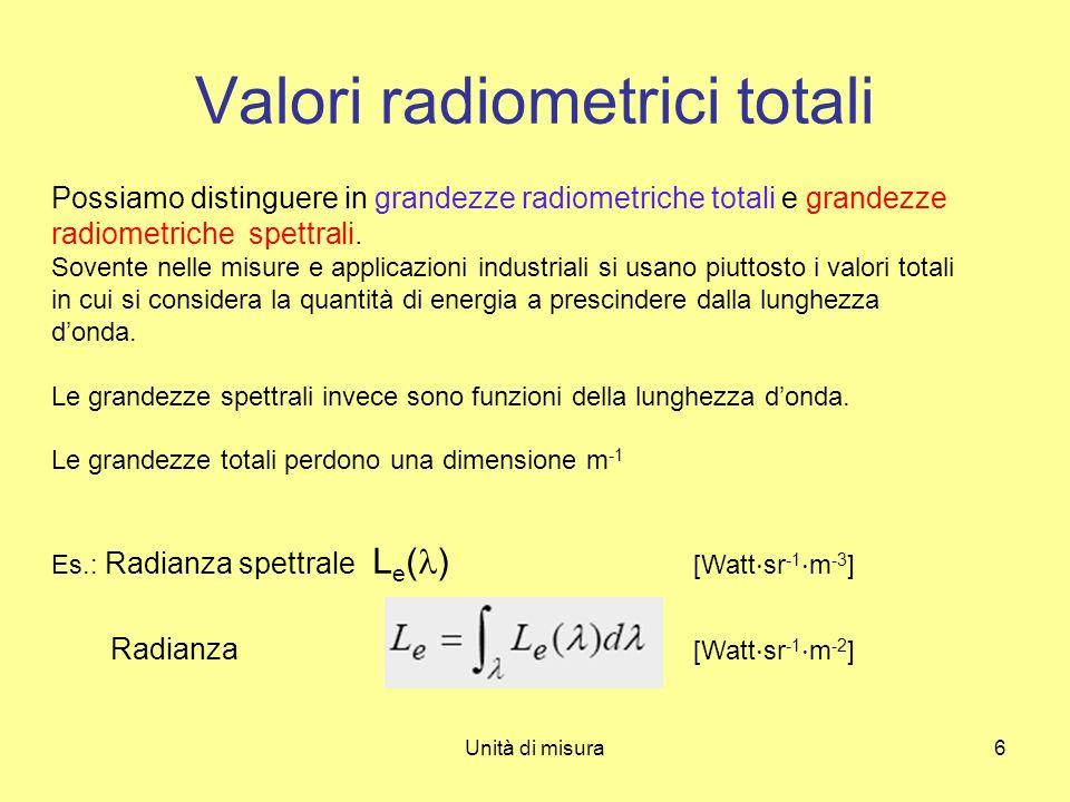 Unità di misura6 Valori radiometrici totali Possiamo distinguere in grandezze radiometriche totali e grandezze radiometriche spettrali. Sovente nelle