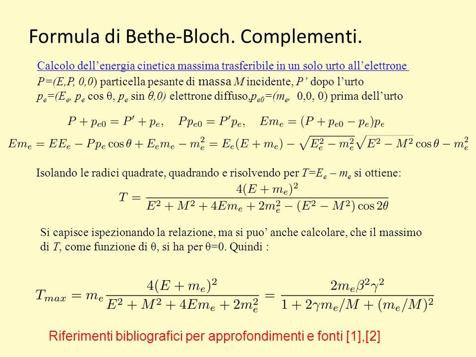 Formula di Bethe-Bloch.Complementi.
