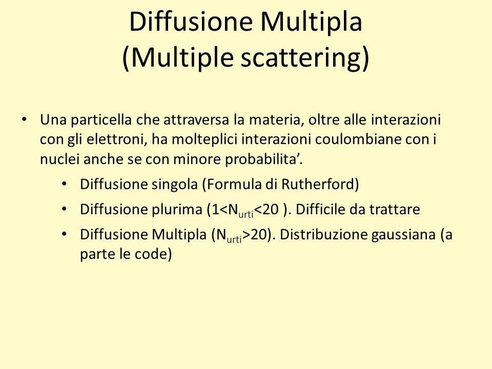 Diffusione Multipla (Multiple scattering) Una particella che attraversa la materia, oltre alle interazioni con gli elettroni, ha molteplici interazioni coulombiane con i nuclei anche se con minore probabilita.