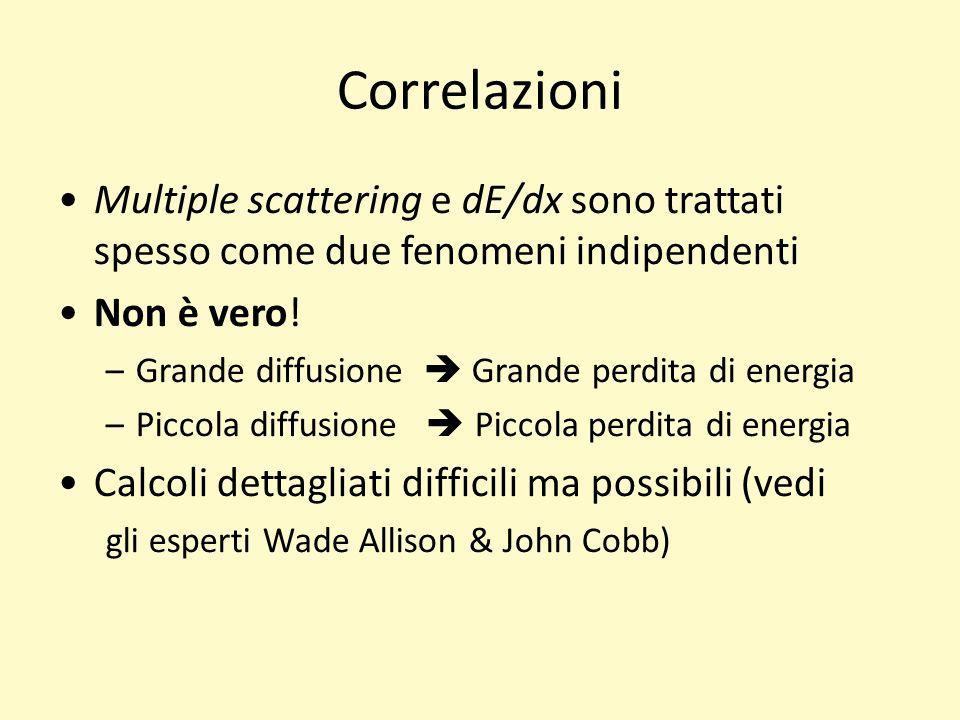 Correlazioni Multiple scattering e dE/dx sono trattati spesso come due fenomeni indipendenti Non è vero.
