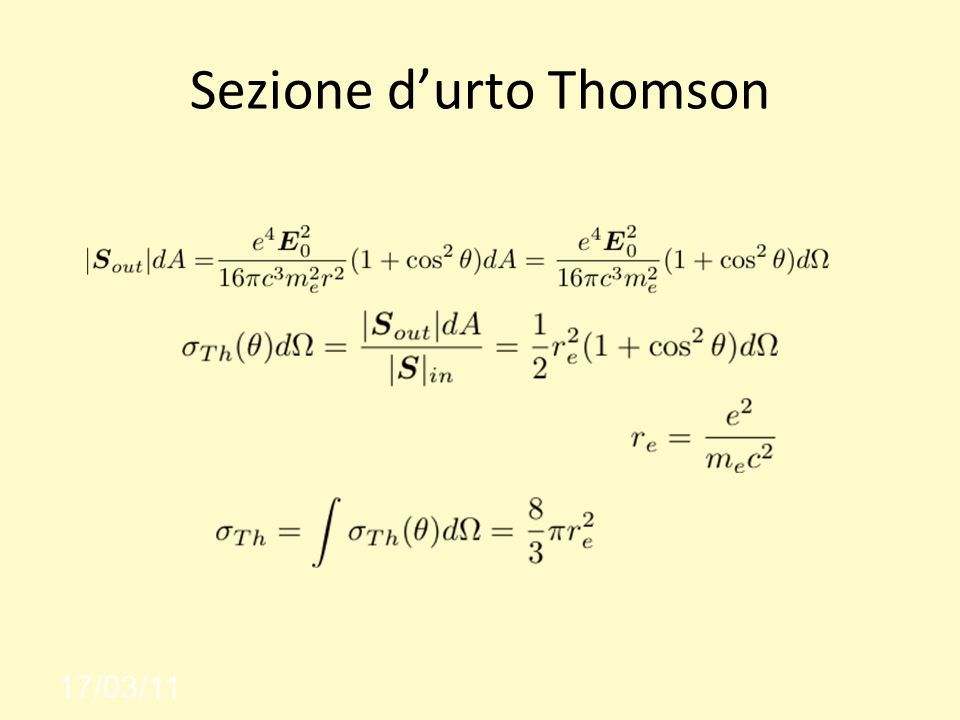 Sezione durto Thomson 17/03/11