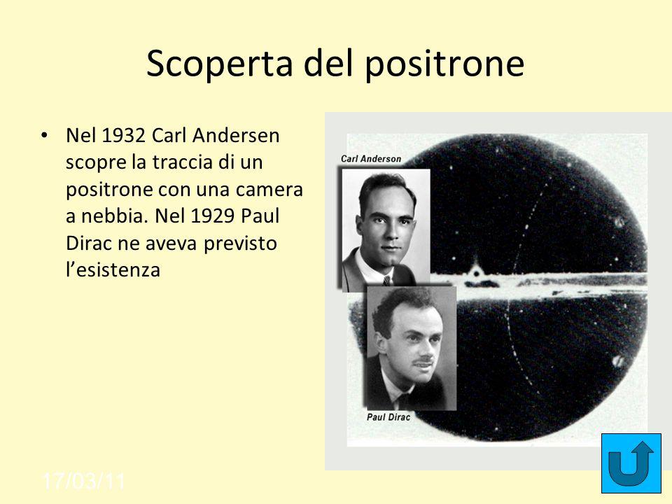 Scoperta del positrone Nel 1932 Carl Andersen scopre la traccia di un positrone con una camera a nebbia.