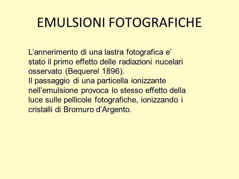 EMULSIONI FOTOGRAFICHE Lannerimento di una lastra fotografica e stato il primo effetto delle radiazioni nucelari osservato (Bequerel 1896).