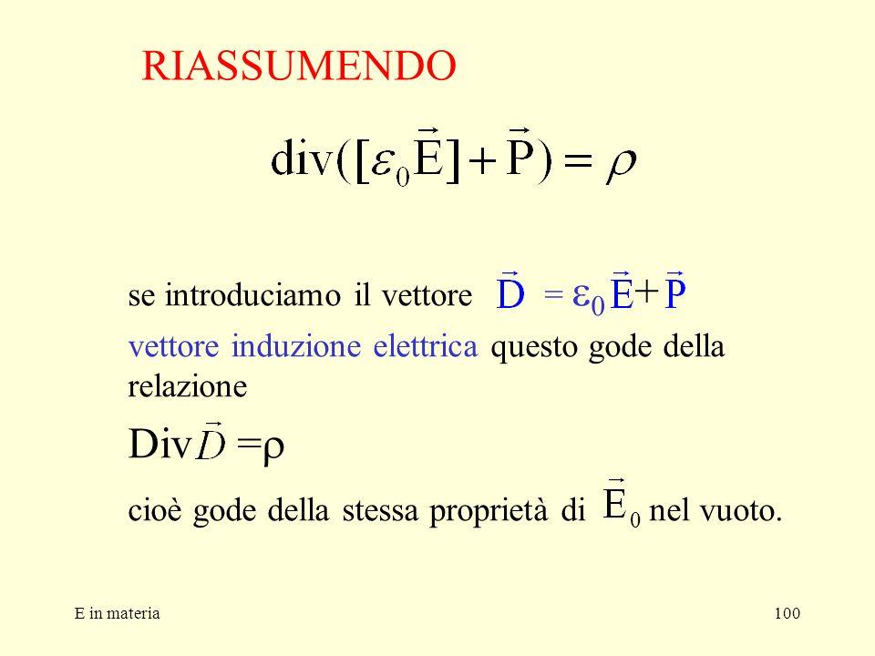 E in materia100 se introduciamo il vettore = 0 + vettore induzione elettrica questo gode della relazione Div = cioè gode della stessa proprietà di 0 n