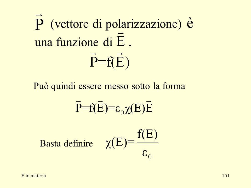 E in materia101 (vettore di polarizzazione) è una funzione di. Può quindi essere messo sotto la forma Basta definire