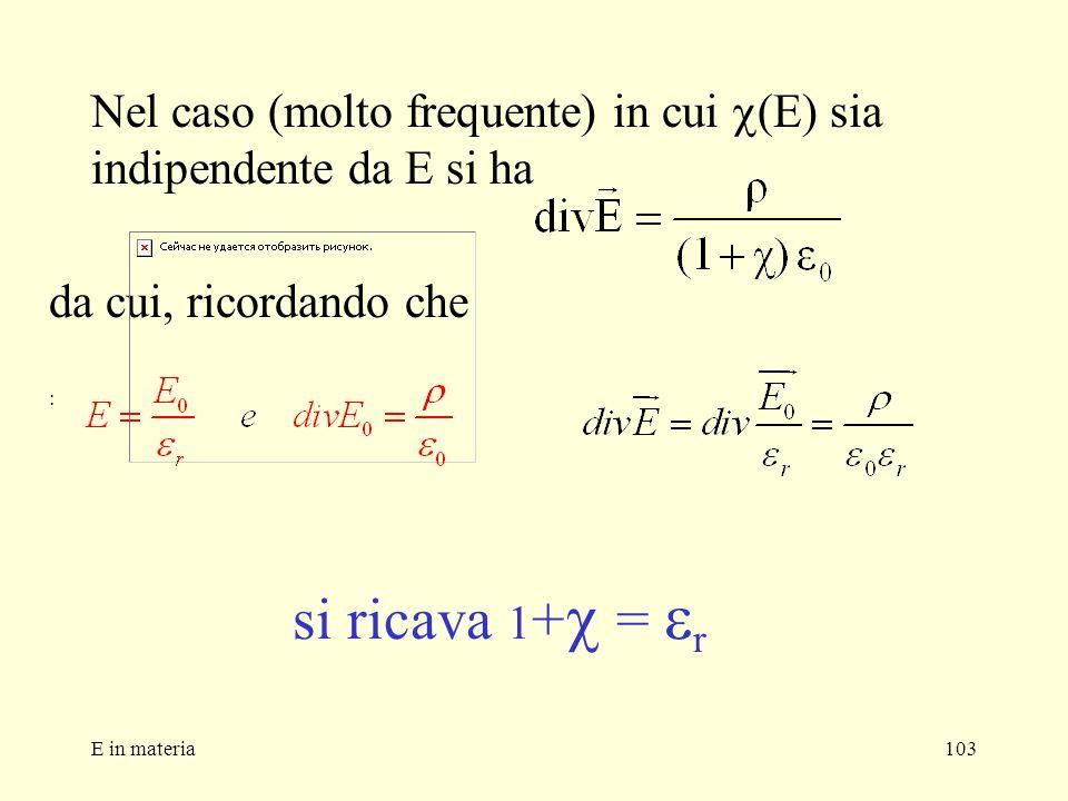 E in materia103 Nel caso (molto frequente) in cui (E) sia indipendente da E si ha si ricava 1 + = r da cui, ricordando che :