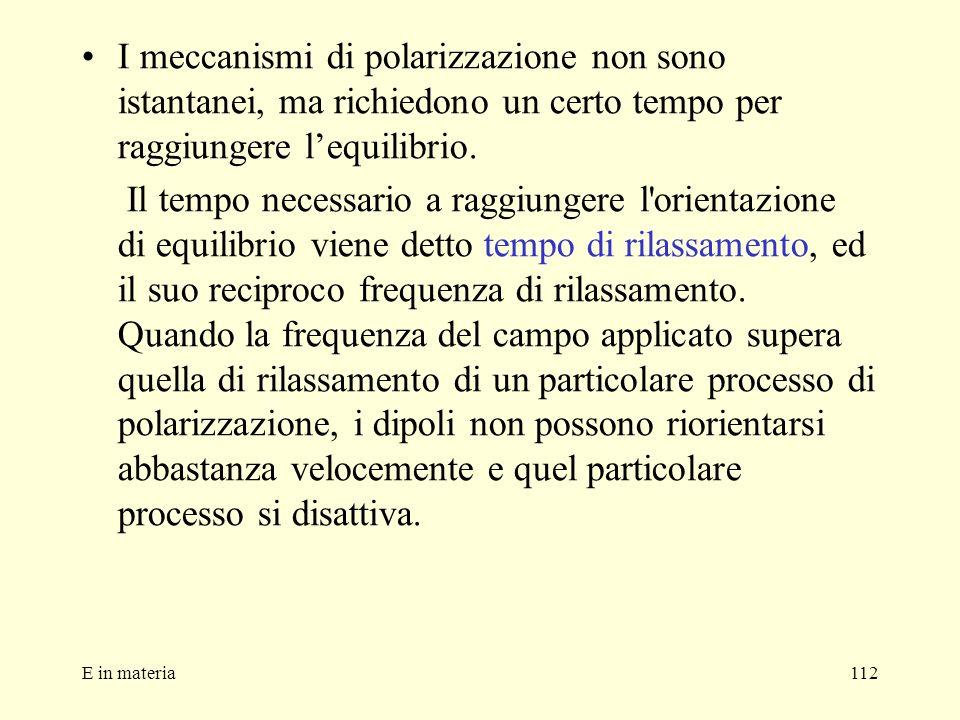 E in materia112 I meccanismi di polarizzazione non sono istantanei, ma richiedono un certo tempo per raggiungere lequilibrio. Il tempo necessario a ra